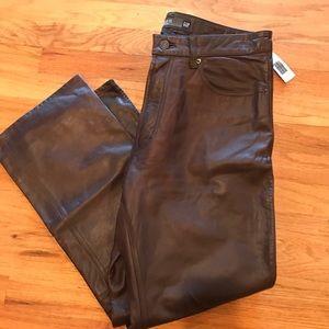 GAP Leather boot-cut pants NWT